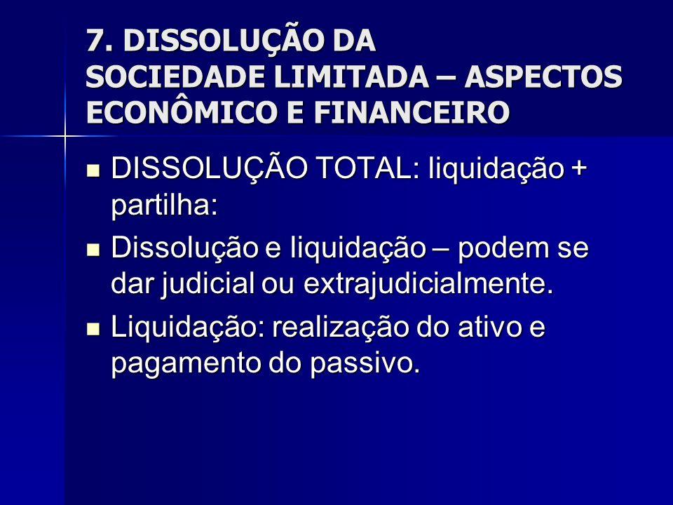 7. DISSOLUÇÃO DA SOCIEDADE LIMITADA – ASPECTOS ECONÔMICO E FINANCEIRO DISSOLUÇÃO TOTAL: liquidação + partilha: DISSOLUÇÃO TOTAL: liquidação + partilha