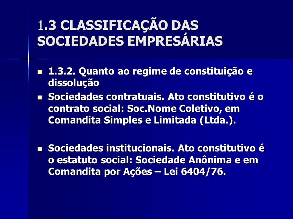1.3 CLASSIFICAÇÃO DAS SOCIEDADES EMPRESÁRIAS 1.3.2. Quanto ao regime de constituição e dissolução 1.3.2. Quanto ao regime de constituição e dissolução