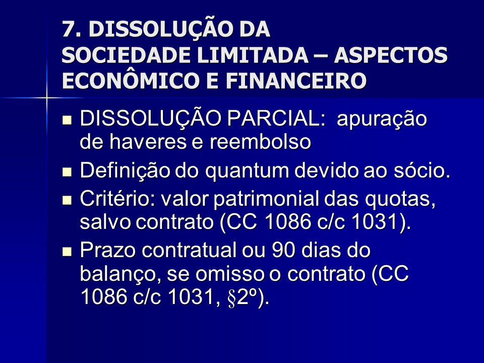 7. DISSOLUÇÃO DA SOCIEDADE LIMITADA – ASPECTOS ECONÔMICO E FINANCEIRO DISSOLUÇÃO PARCIAL: apuração de haveres e reembolso DISSOLUÇÃO PARCIAL: apuração