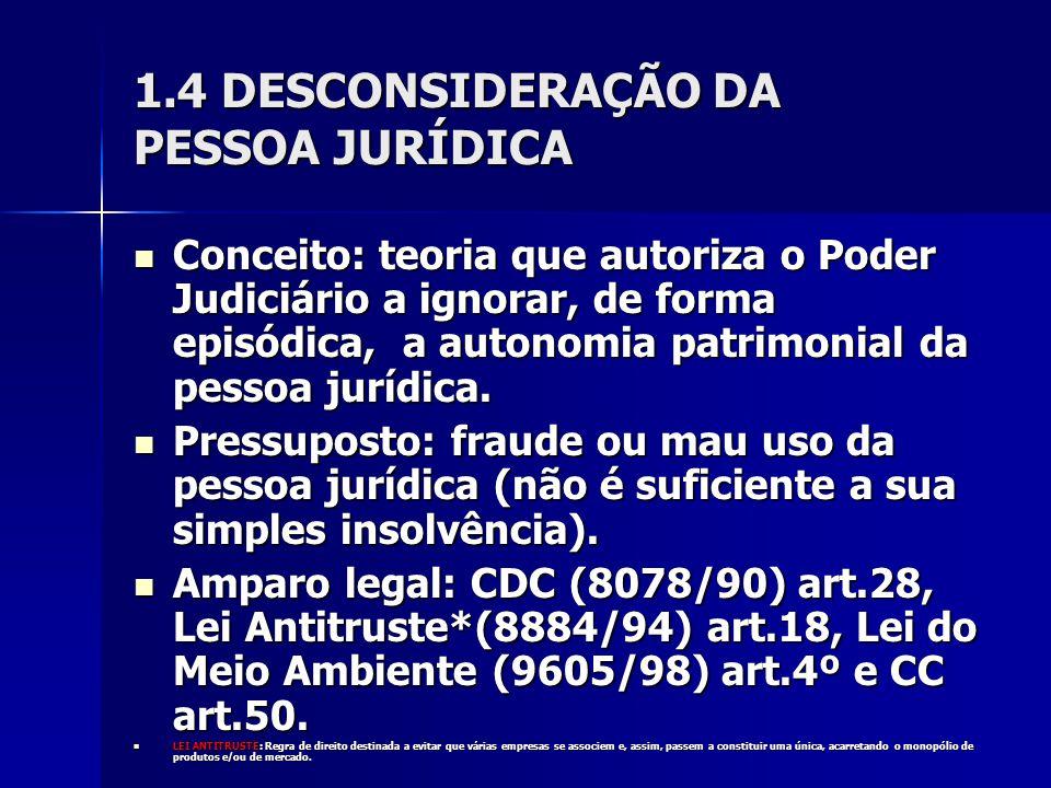 1.4 DESCONSIDERAÇÃO DA PESSOA JURÍDICA Conceito: teoria que autoriza o Poder Judiciário a ignorar, de forma episódica, a autonomia patrimonial da pess
