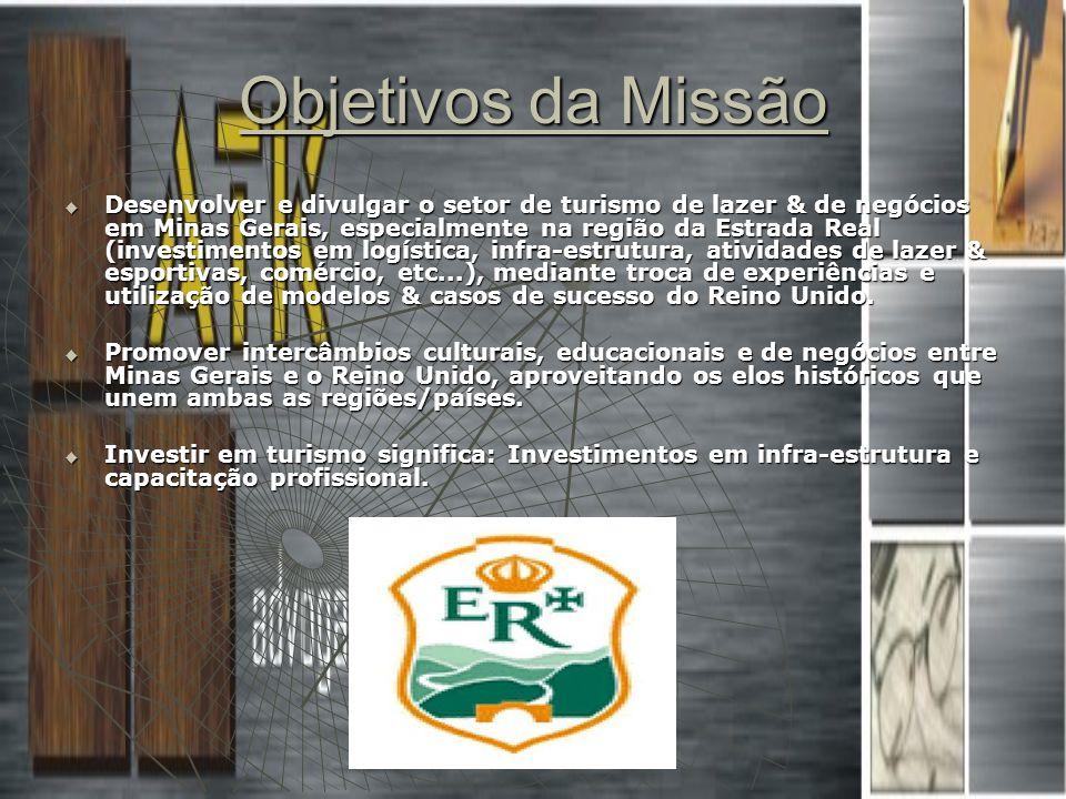 Objetivos da Missão Desenvolver e divulgar o setor de turismo de lazer & de negócios em Minas Gerais, especialmente na região da Estrada Real (investi