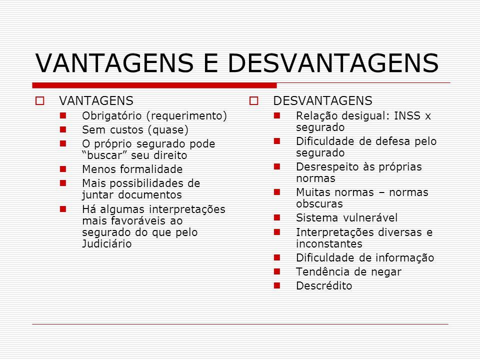 VANTAGENS E DESVANTAGENS VANTAGENS Obrigatório (requerimento) Sem custos (quase) O próprio segurado pode buscar seu direito Menos formalidade Mais pos