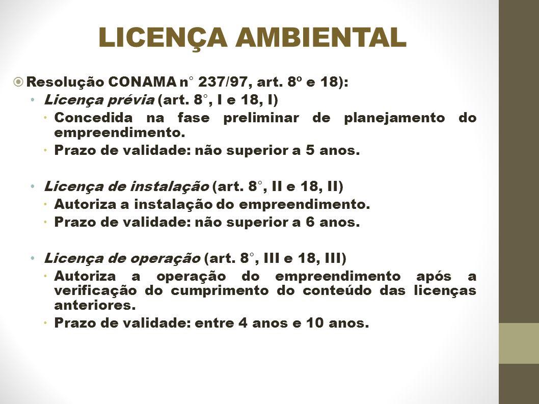 LICENÇA AMBIENTAL Resolução CONAMA n° 237/97, art.