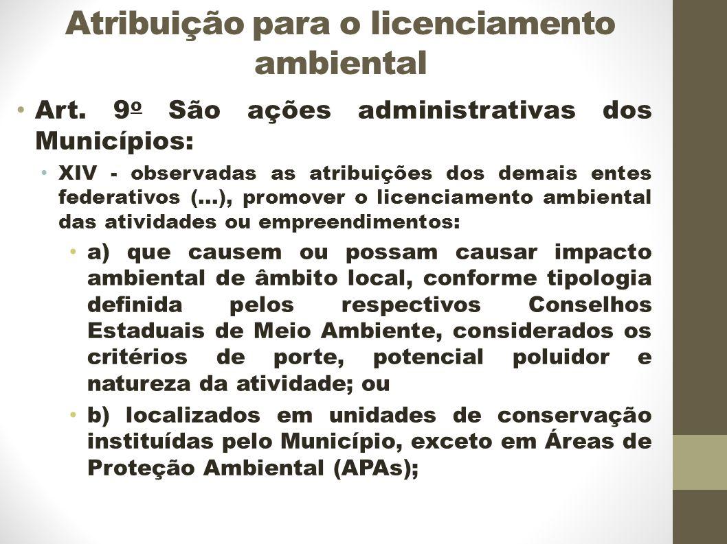 Atribuição para o licenciamento ambiental Art.