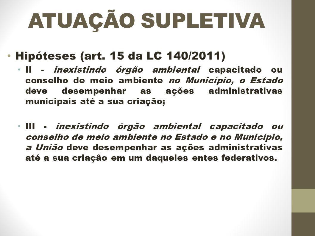 ATUAÇÃO SUPLETIVA Hipóteses (art.