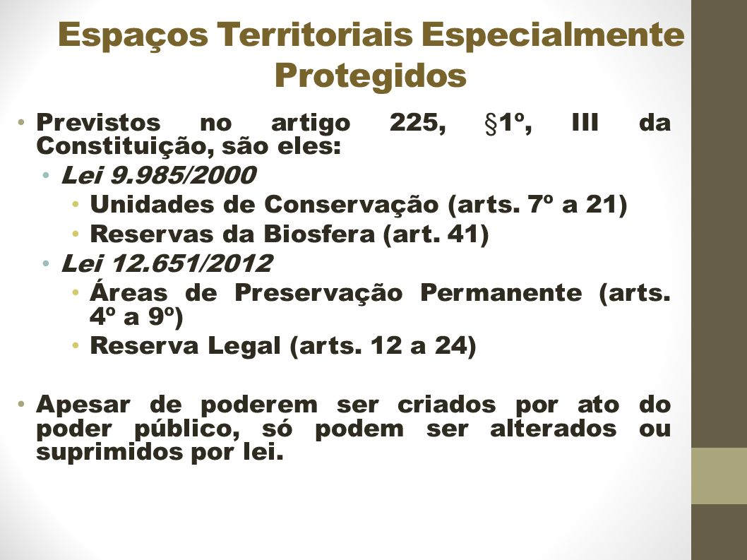Espaços Territoriais Especialmente Protegidos Previstos no artigo 225, §1º, III da Constituição, são eles: Lei 9.985/2000 Unidades de Conservação (arts.