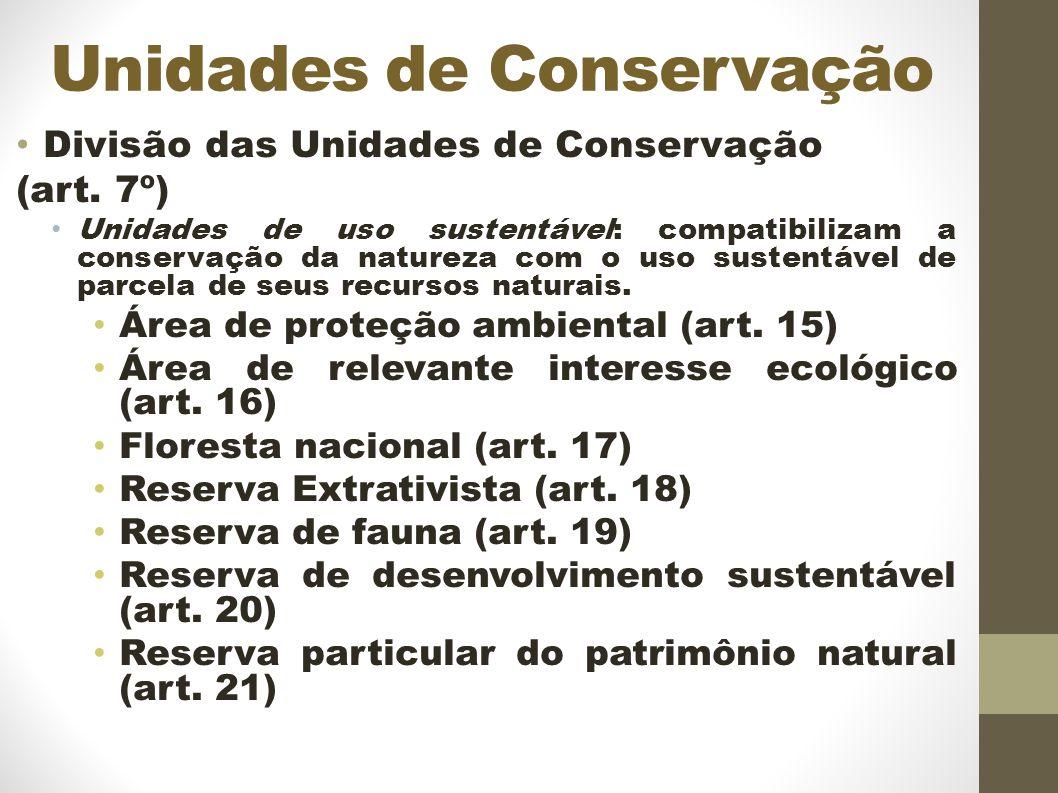 Unidades de Conservação Divisão das Unidades de Conservação (art.
