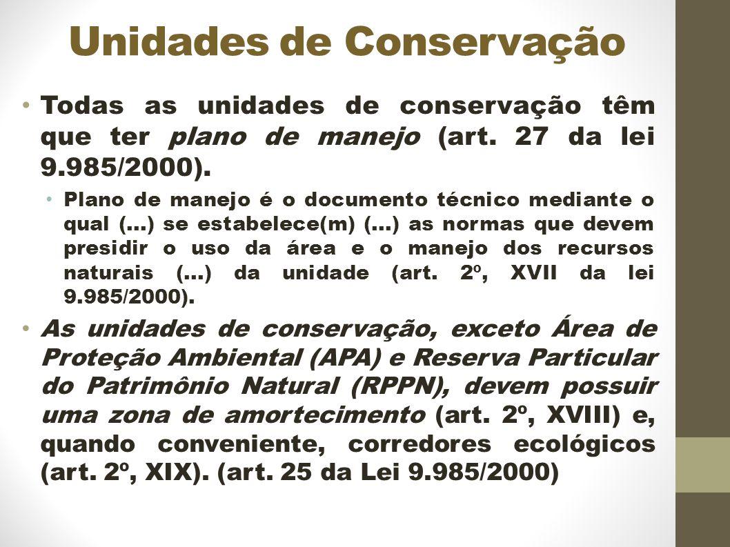 Unidades de Conservação Todas as unidades de conservação têm que ter plano de manejo (art.