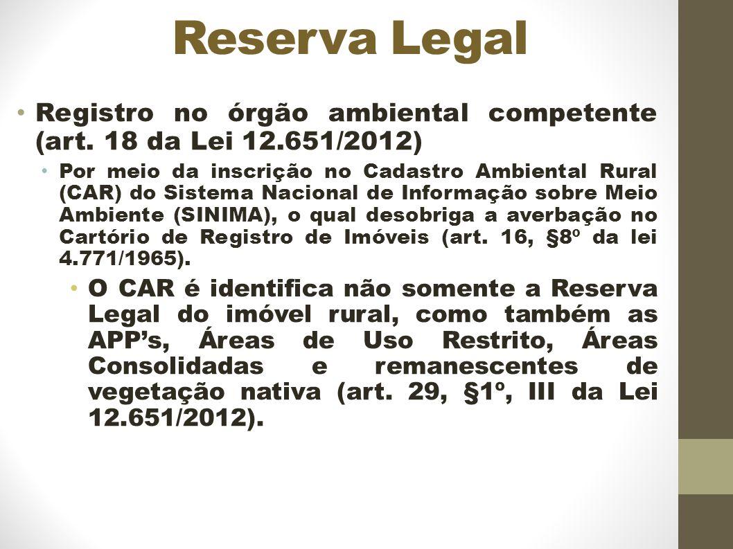 Reserva Legal Registro no órgão ambiental competente (art.
