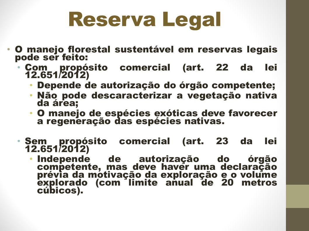 Reserva Legal O manejo florestal sustentável em reservas legais pode ser feito: Com propósito comercial (art.