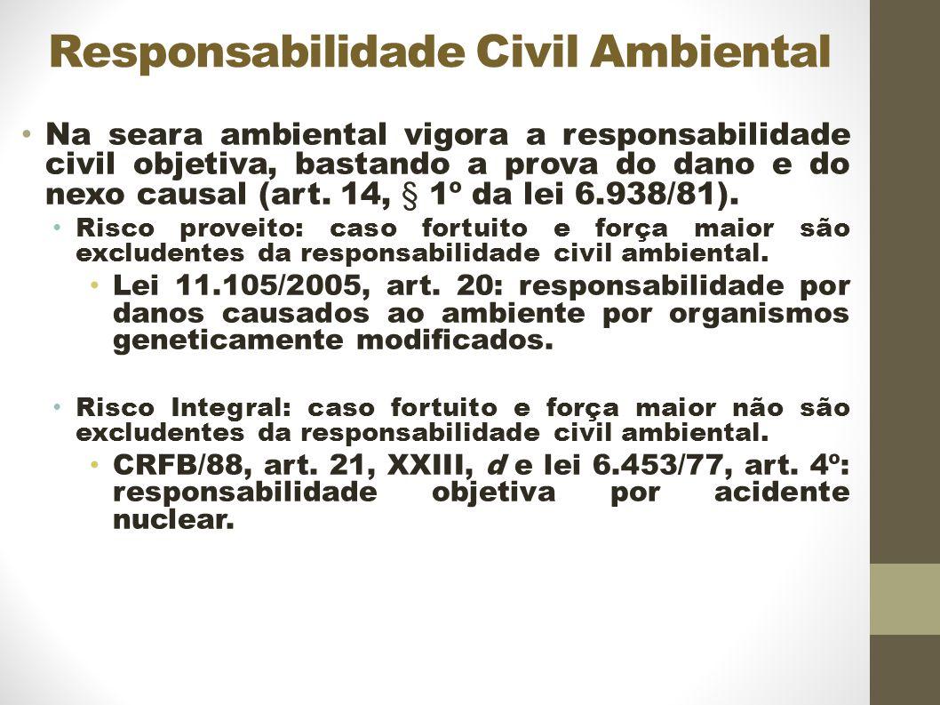 Responsabilidade Civil Ambiental Na seara ambiental vigora a responsabilidade civil objetiva, bastando a prova do dano e do nexo causal (art.