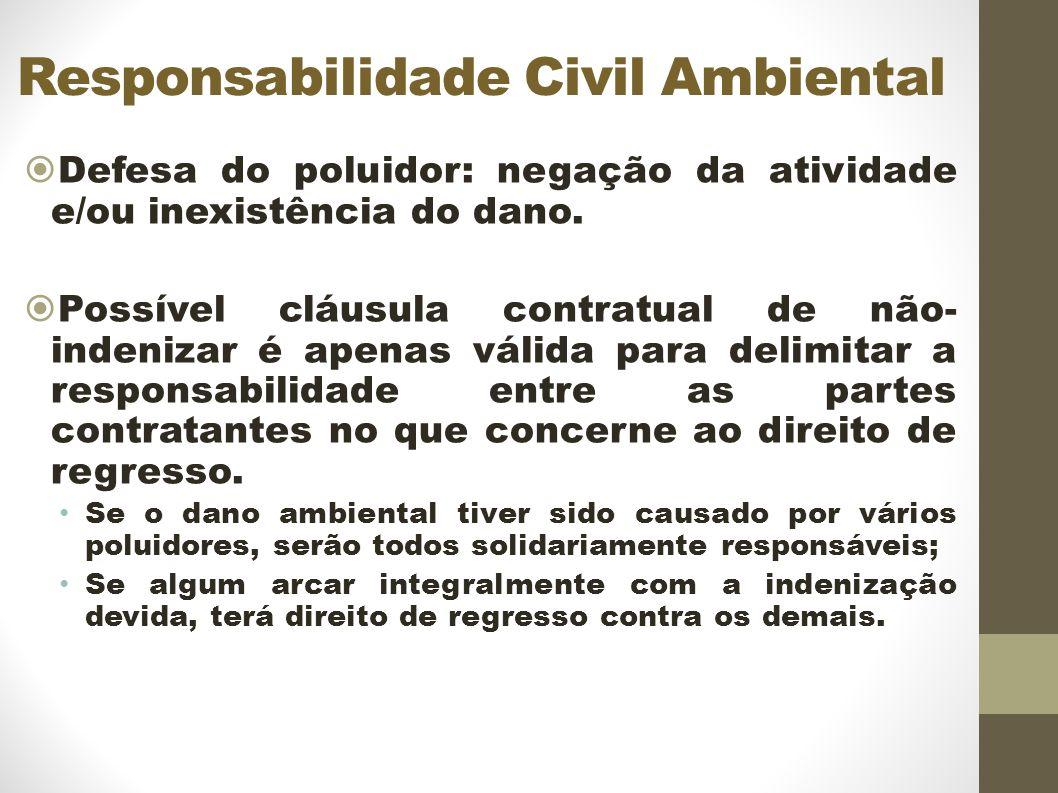 Responsabilidade Civil Ambiental Defesa do poluidor: negação da atividade e/ou inexistência do dano.