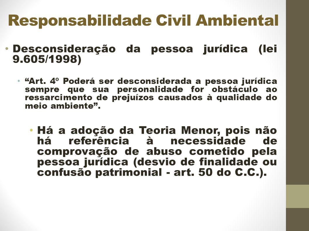 Responsabilidade Civil Ambiental Desconsideração da pessoa jurídica (lei 9.605/1998) Art.
