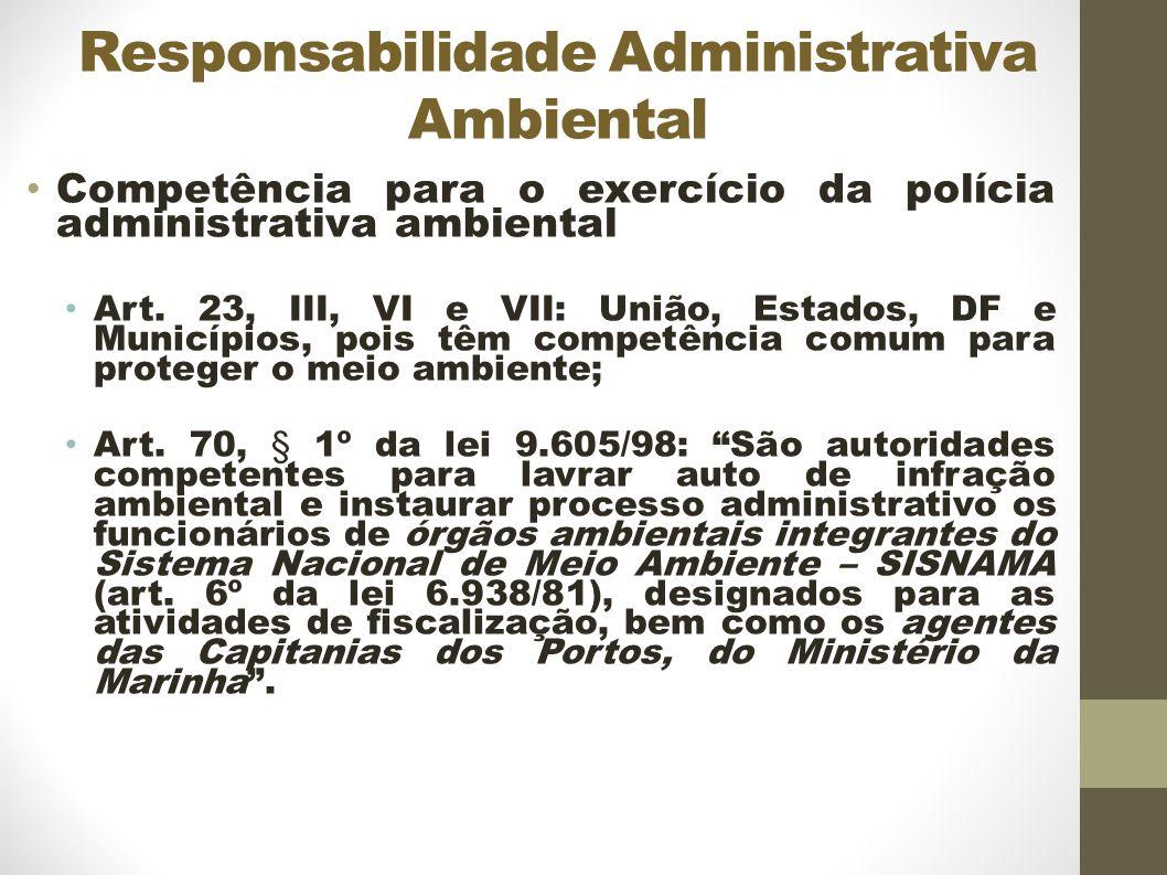 Responsabilidade Administrativa Ambiental Competência para o exercício da polícia administrativa ambiental Art.