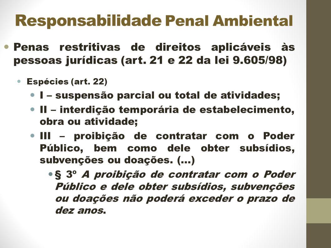 Responsabilidade Penal Ambiental Penas restritivas de direitos aplicáveis às pessoas jurídicas (art.