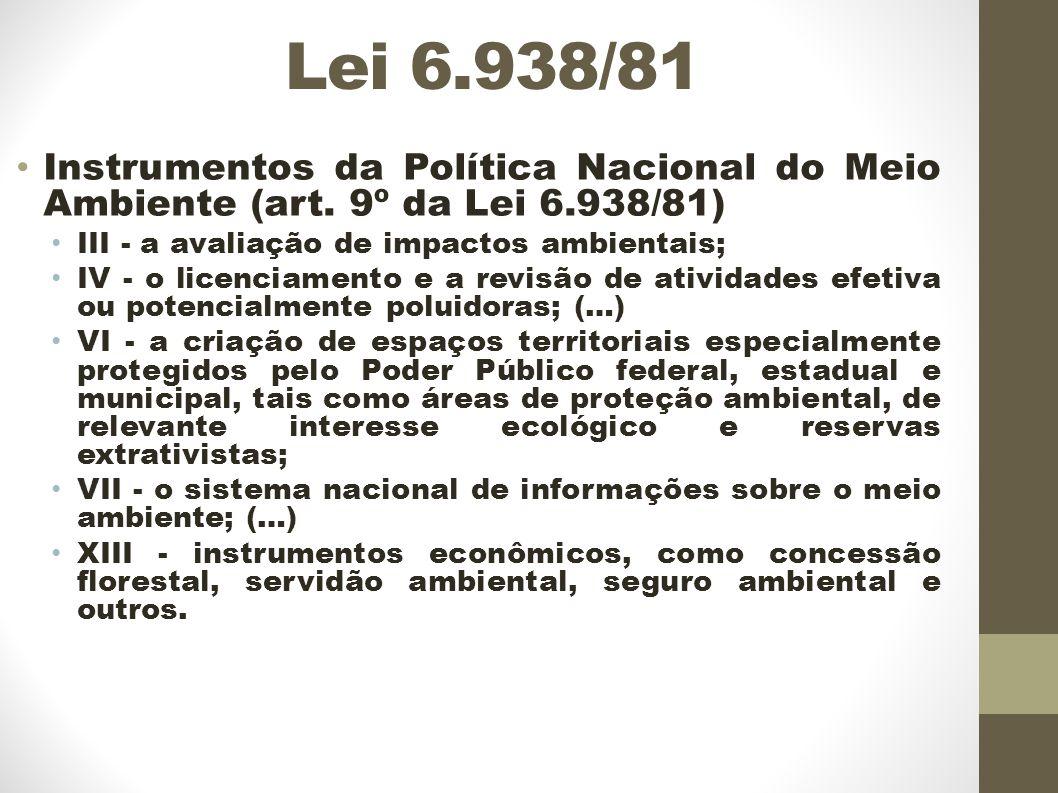 Lei 6.938/81 Instrumentos da Política Nacional do Meio Ambiente (art.
