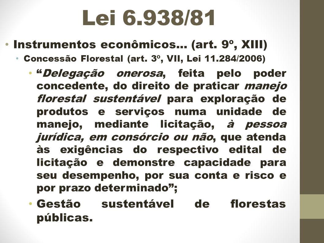 Lei 6.938/81 Instrumentos econômicos… (art.9º, XIII) Concessão Florestal (art.