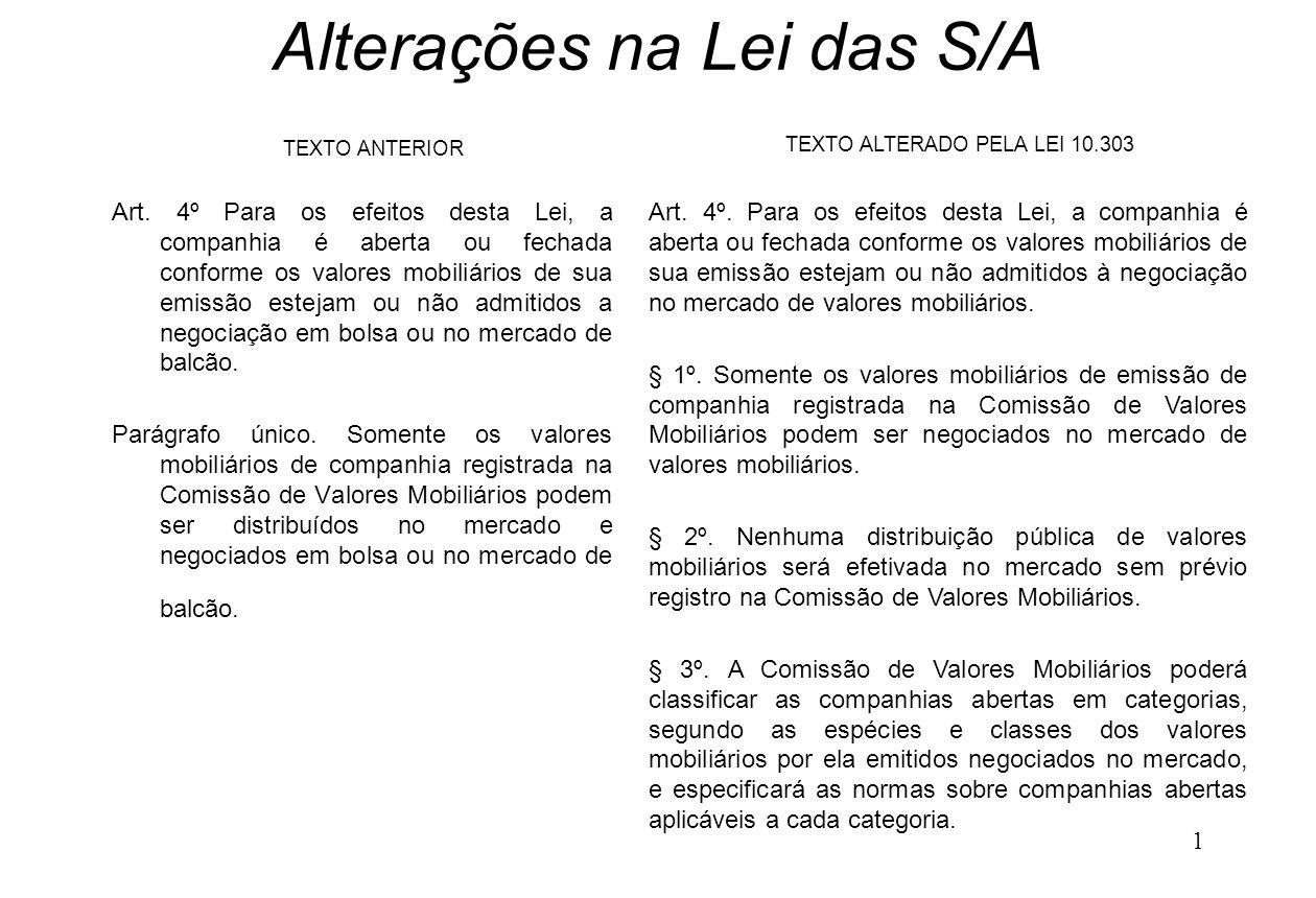 1 Alterações na Lei das S/A Art. 4º Para os efeitos desta Lei, a companhia é aberta ou fechada conforme os valores mobiliários de sua emissão estejam