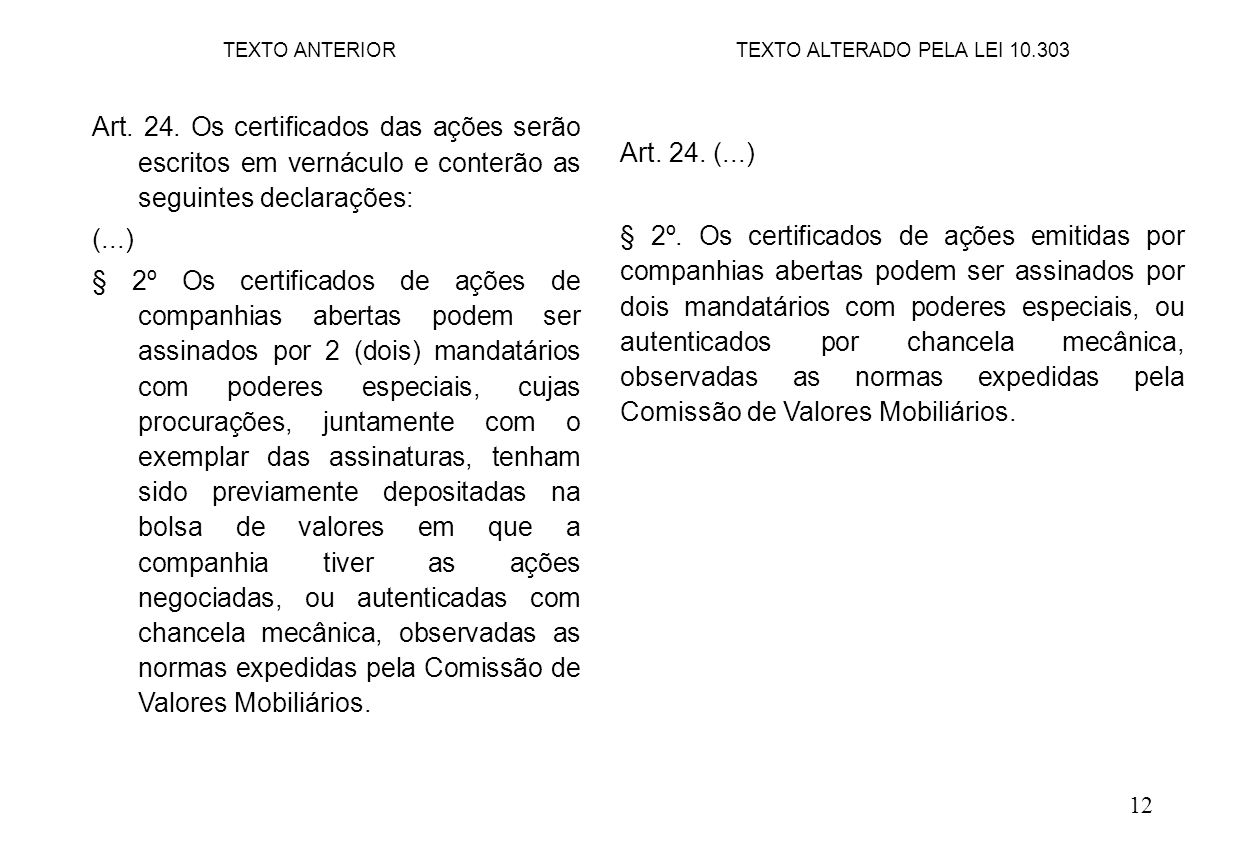 12 Art. 24. (...) § 2º. Os certificados de ações emitidas por companhias abertas podem ser assinados por dois mandatários com poderes especiais, ou au
