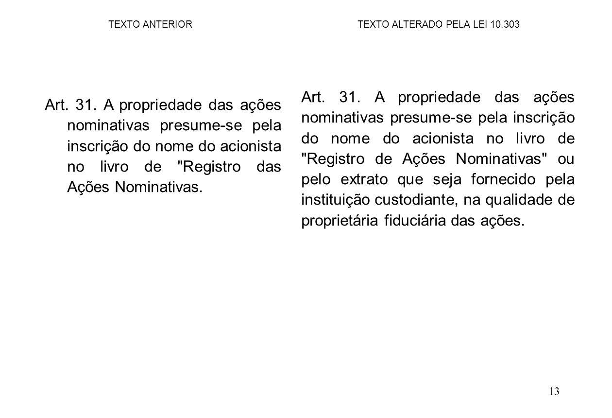 13 Art. 31. A propriedade das ações nominativas presume-se pela inscrição do nome do acionista no livro de