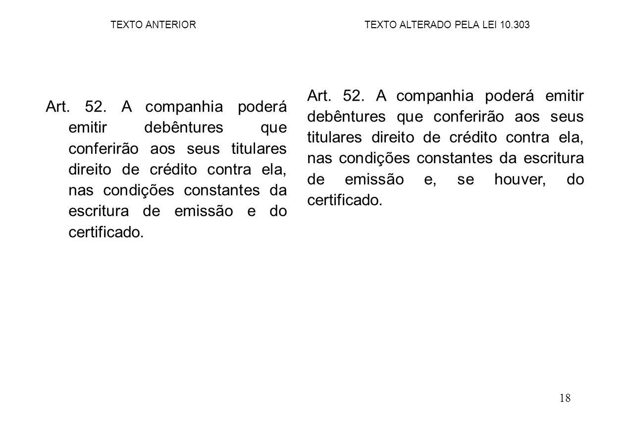 18 Art. 52. A companhia poderá emitir debêntures que conferirão aos seus titulares direito de crédito contra ela, nas condições constantes da escritur