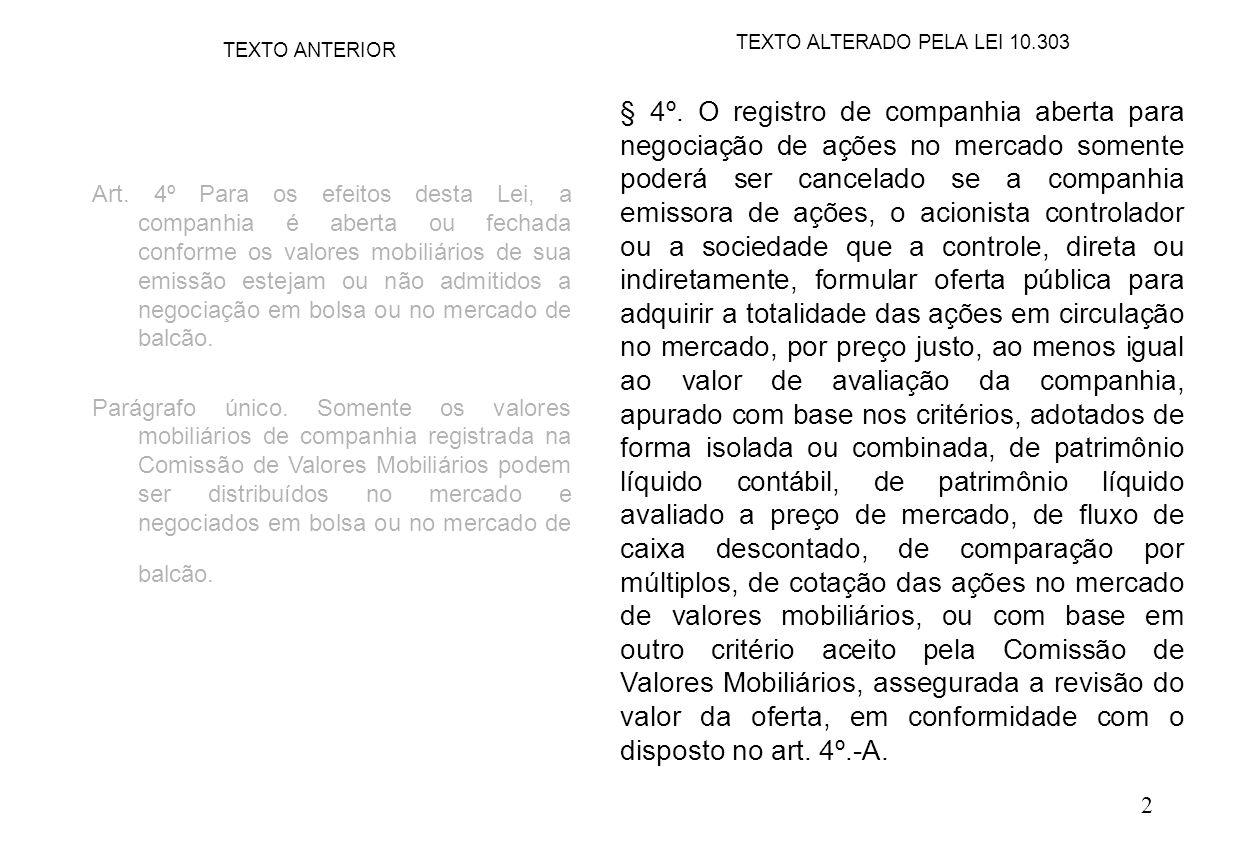 2 § 4º. O registro de companhia aberta para negociação de ações no mercado somente poderá ser cancelado se a companhia emissora de ações, o acionista