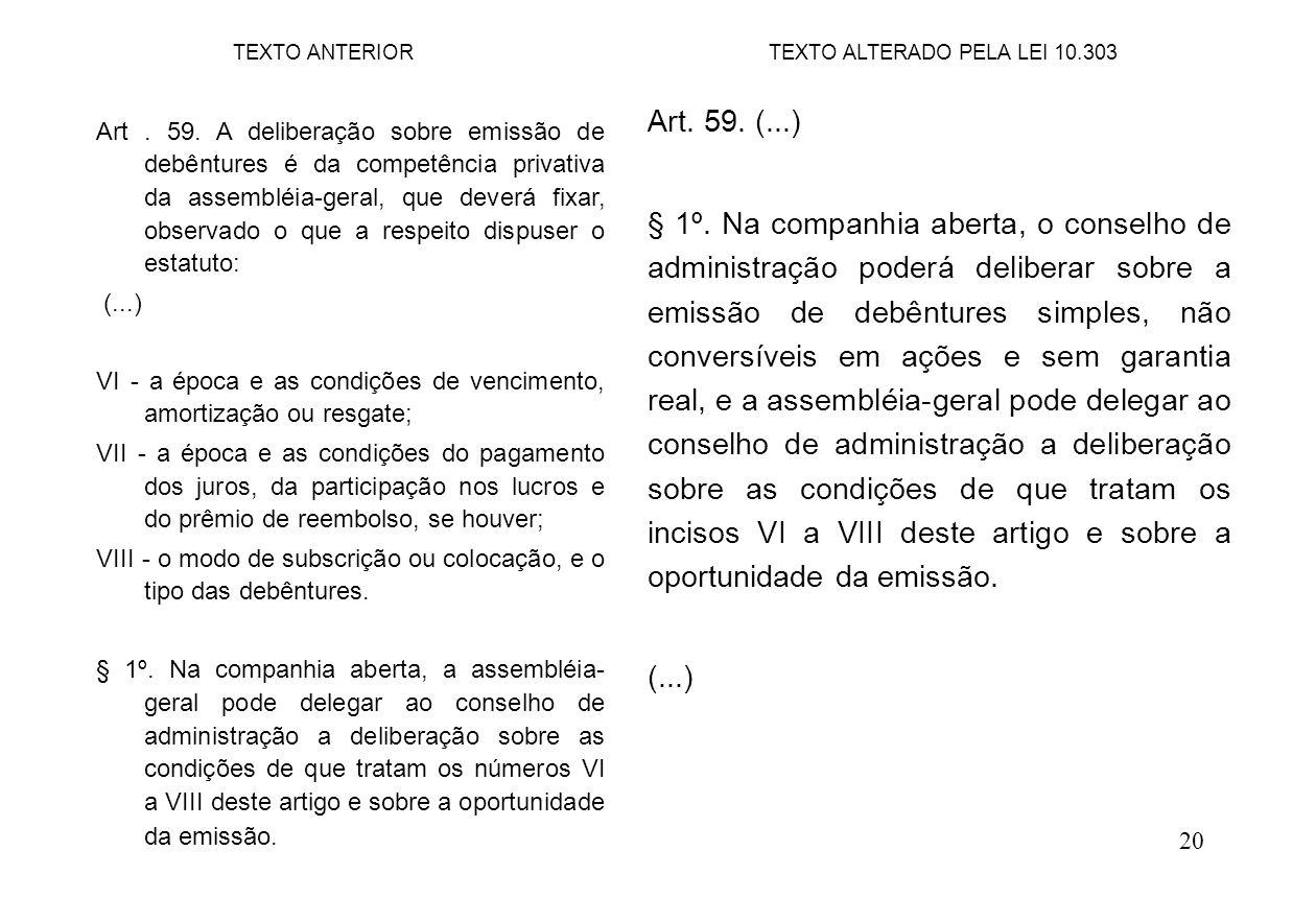 20 Art. 59. (...) § 1º. Na companhia aberta, o conselho de administração poderá deliberar sobre a emissão de debêntures simples, não conversíveis em a