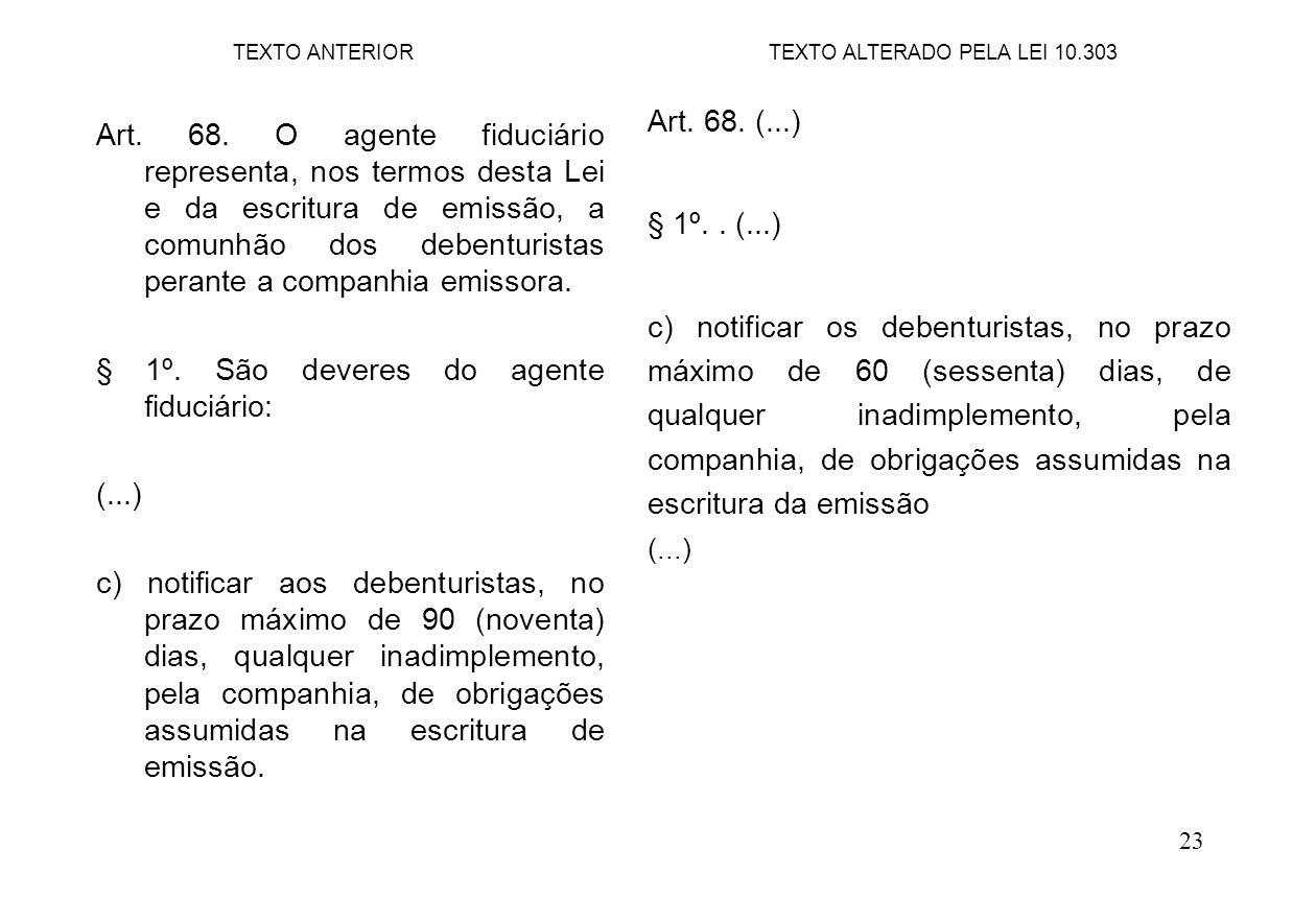 23 Art. 68. (...) § 1º.. (...) c) notificar os debenturistas, no prazo máximo de 60 (sessenta) dias, de qualquer inadimplemento, pela companhia, de ob