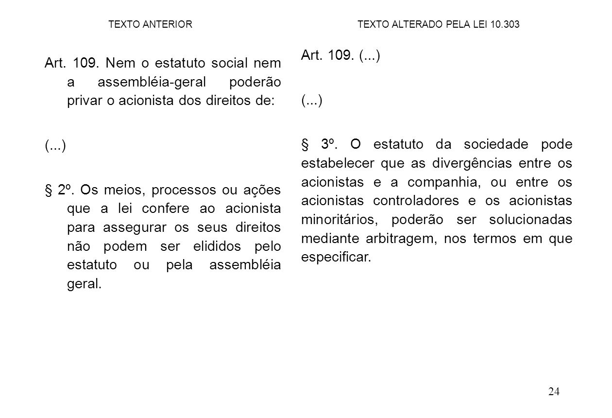 24 Art. 109. (...) (...) § 3º. O estatuto da sociedade pode estabelecer que as divergências entre os acionistas e a companhia, ou entre os acionistas