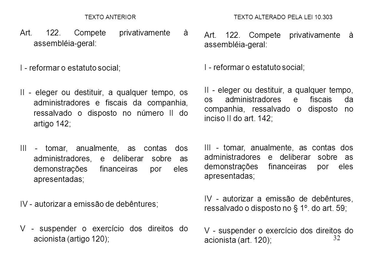 32 Art. 122. Compete privativamente à assembléia-geral: I - reformar o estatuto social; II - eleger ou destituir, a qualquer tempo, os administradores