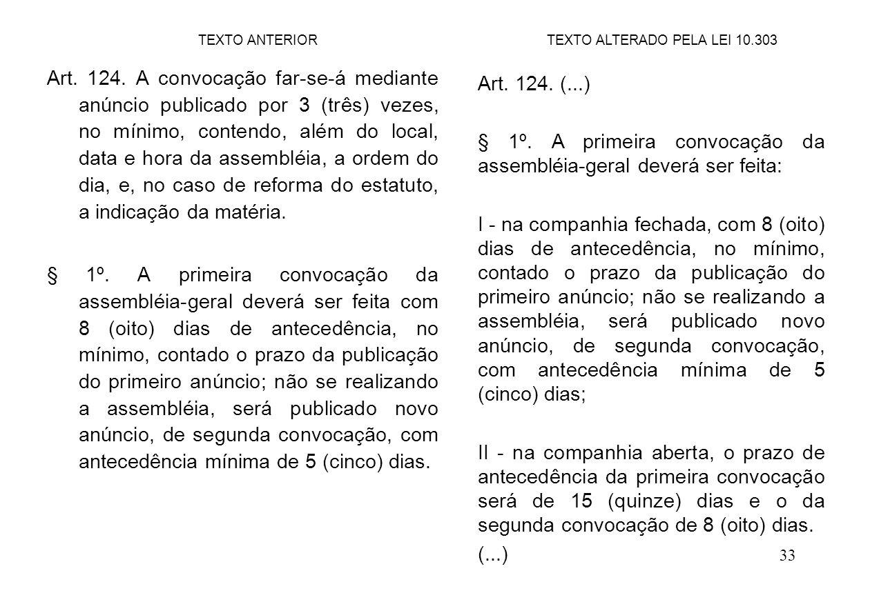 33 Art. 124. A convocação far-se-á mediante anúncio publicado por 3 (três) vezes, no mínimo, contendo, além do local, data e hora da assembléia, a ord