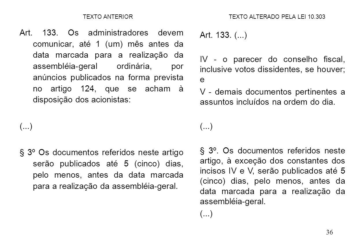 36 Art. 133. Os administradores devem comunicar, até 1 (um) mês antes da data marcada para a realização da assembléia-geral ordinária, por anúncios pu