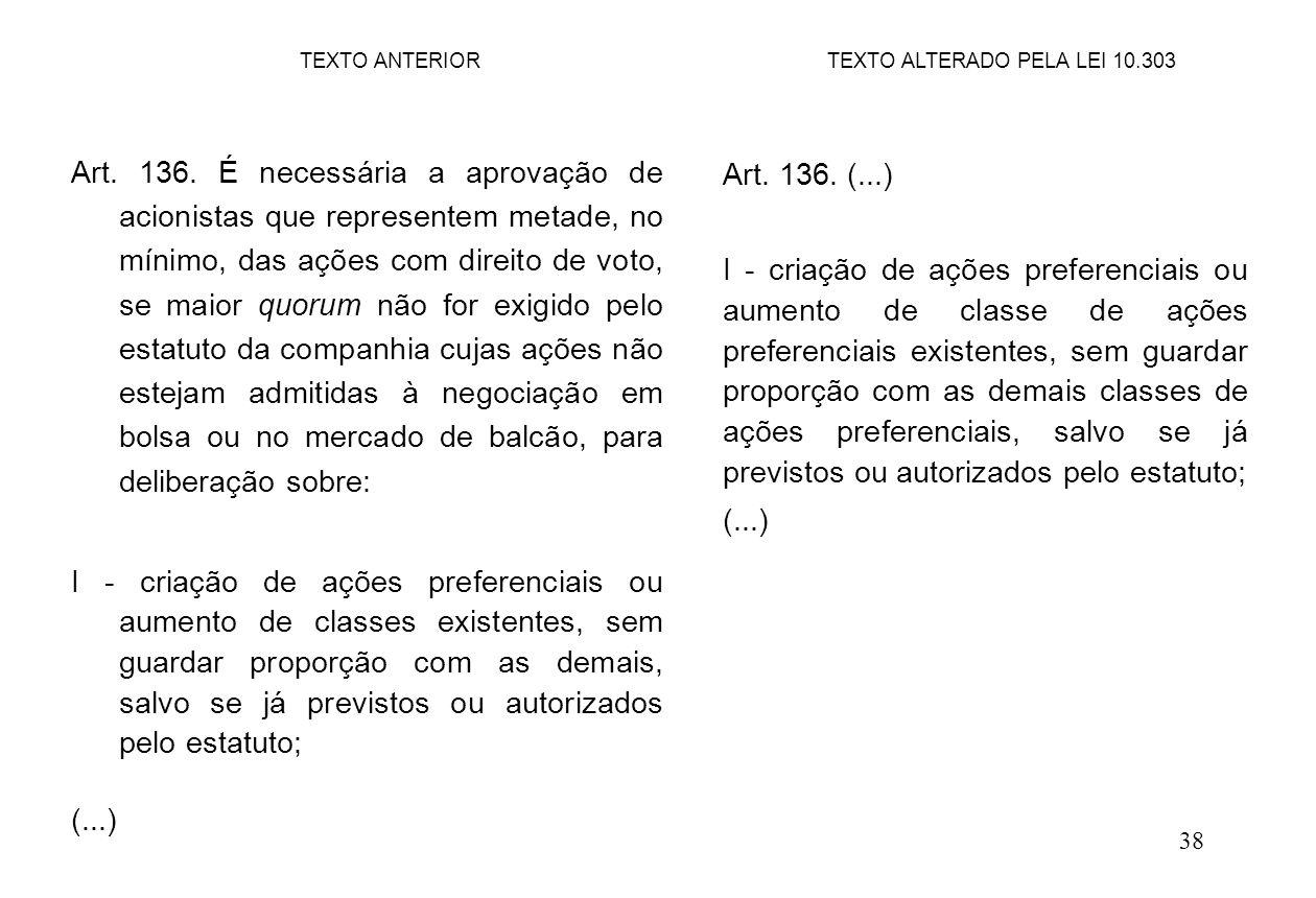 38 Art. 136. É necessária a aprovação de acionistas que representem metade, no mínimo, das ações com direito de voto, se maior quorum não for exigido