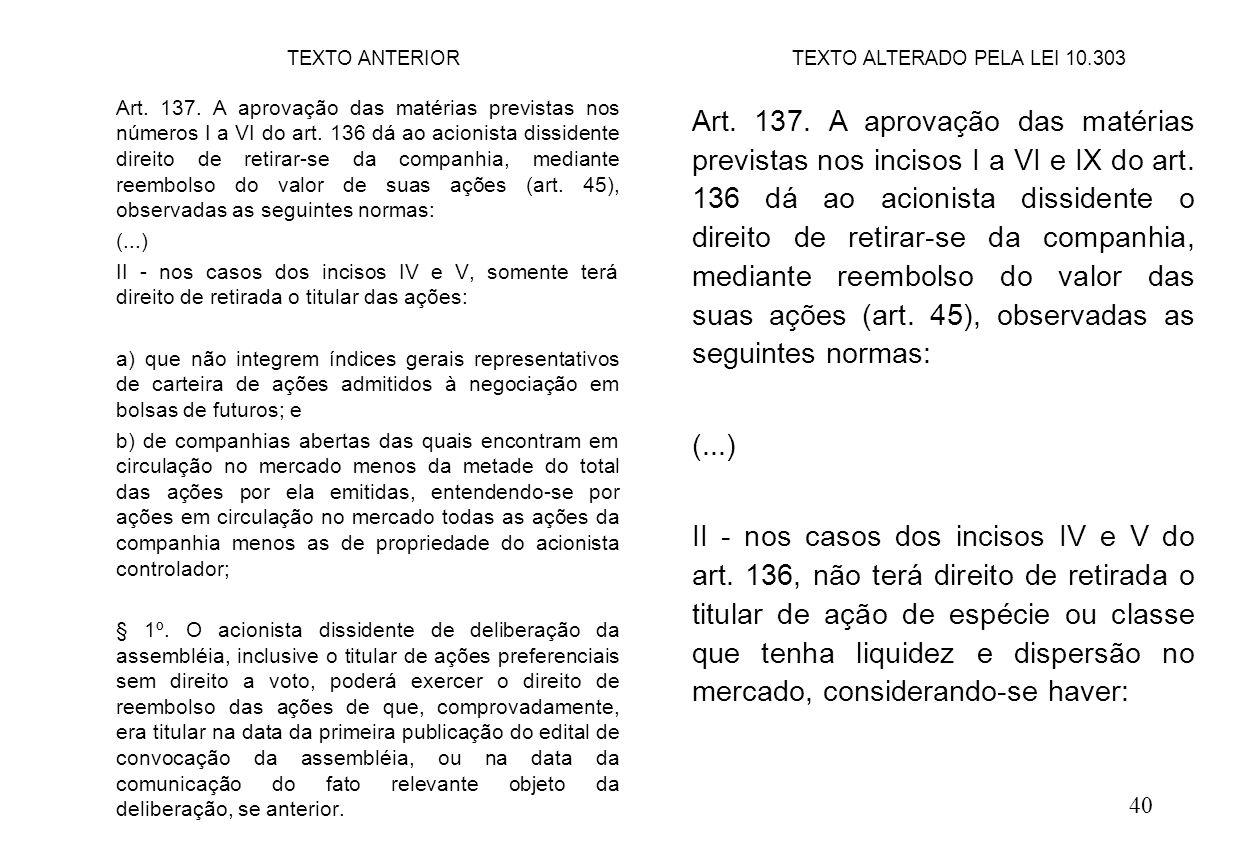 40 Art. 137. A aprovação das matérias previstas nos incisos I a VI e IX do art. 136 dá ao acionista dissidente o direito de retirar-se da companhia, m