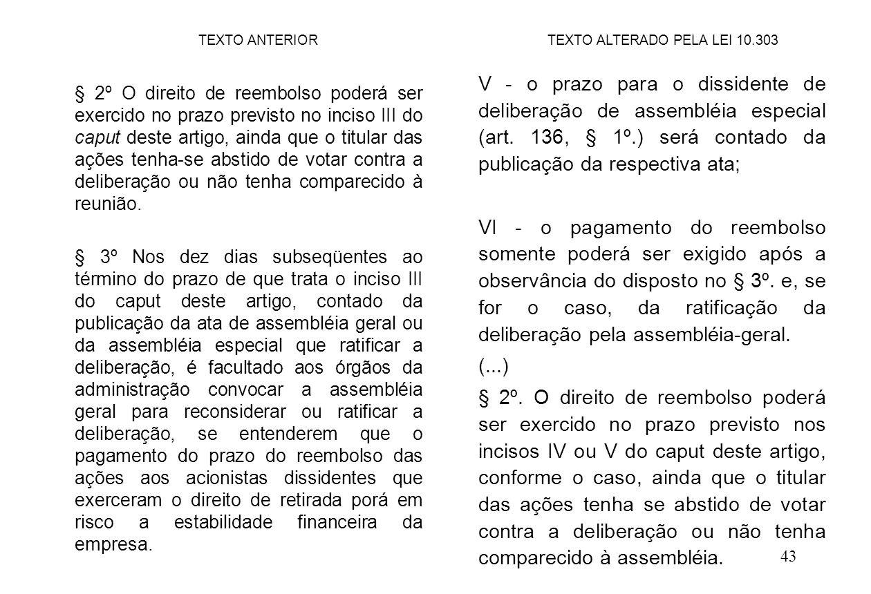 43 V - o prazo para o dissidente de deliberação de assembléia especial (art. 136, § 1º.) será contado da publicação da respectiva ata; VI - o pagament