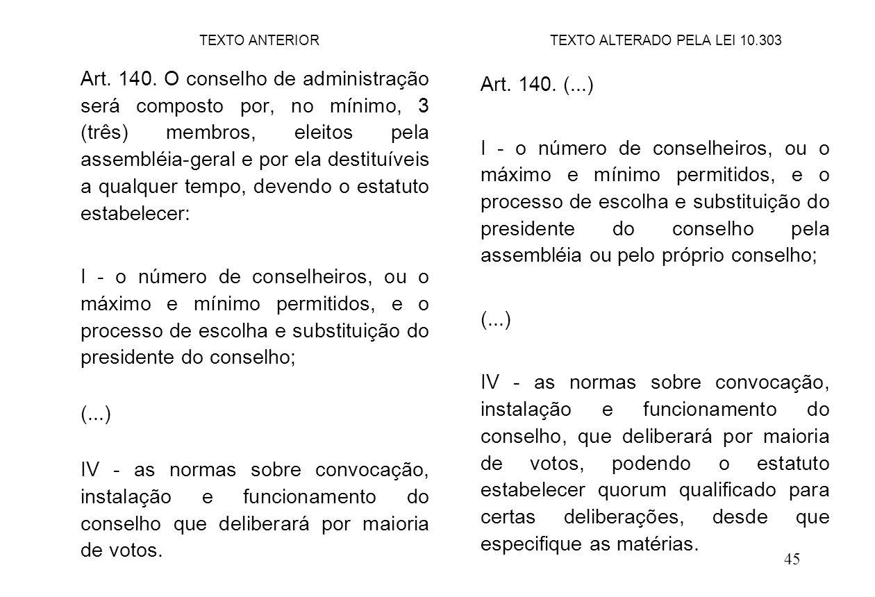 45 Art. 140. (...) I - o número de conselheiros, ou o máximo e mínimo permitidos, e o processo de escolha e substituição do presidente do conselho pel