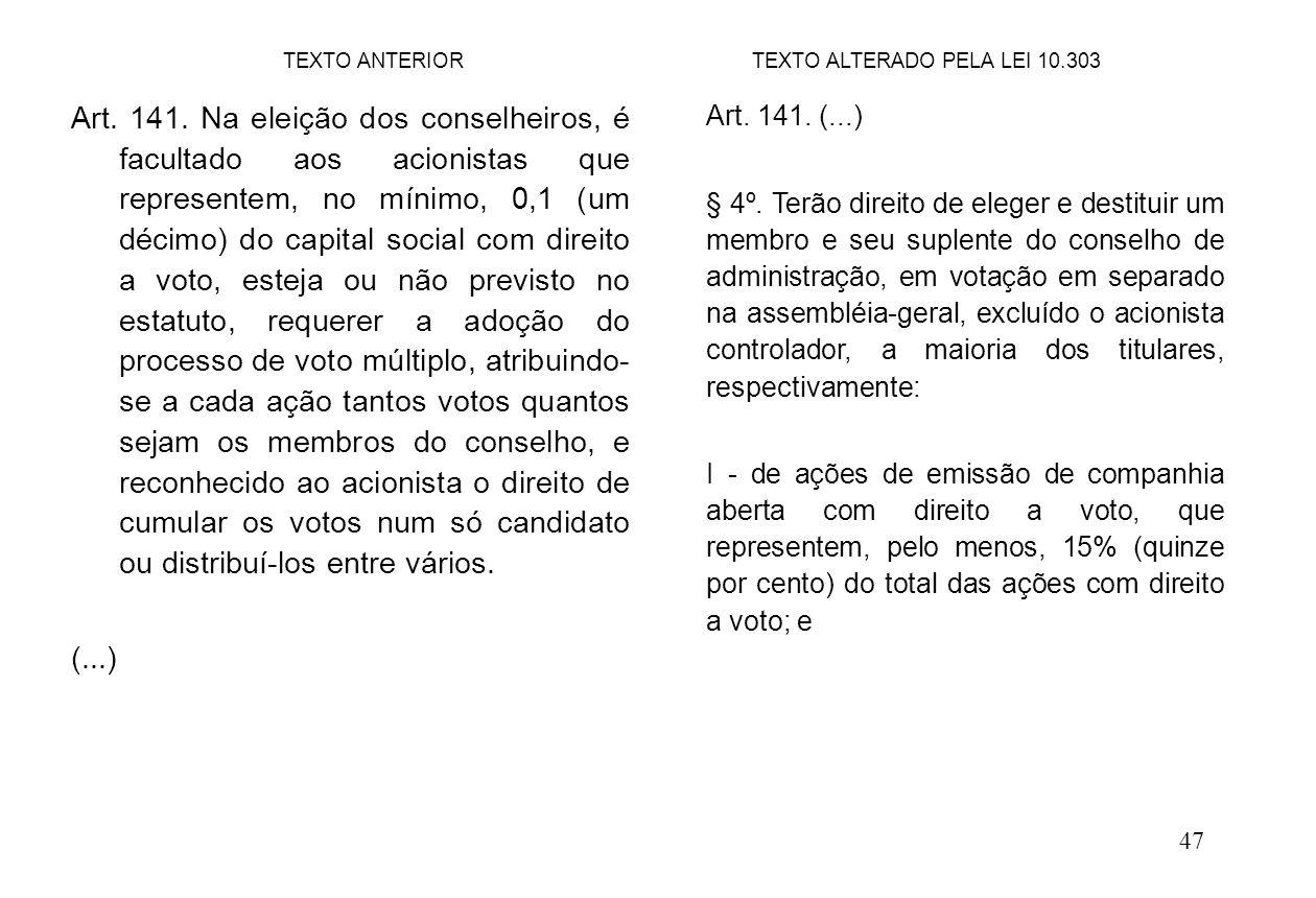 47 Art. 141. Na eleição dos conselheiros, é facultado aos acionistas que representem, no mínimo, 0,1 (um décimo) do capital social com direito a voto,