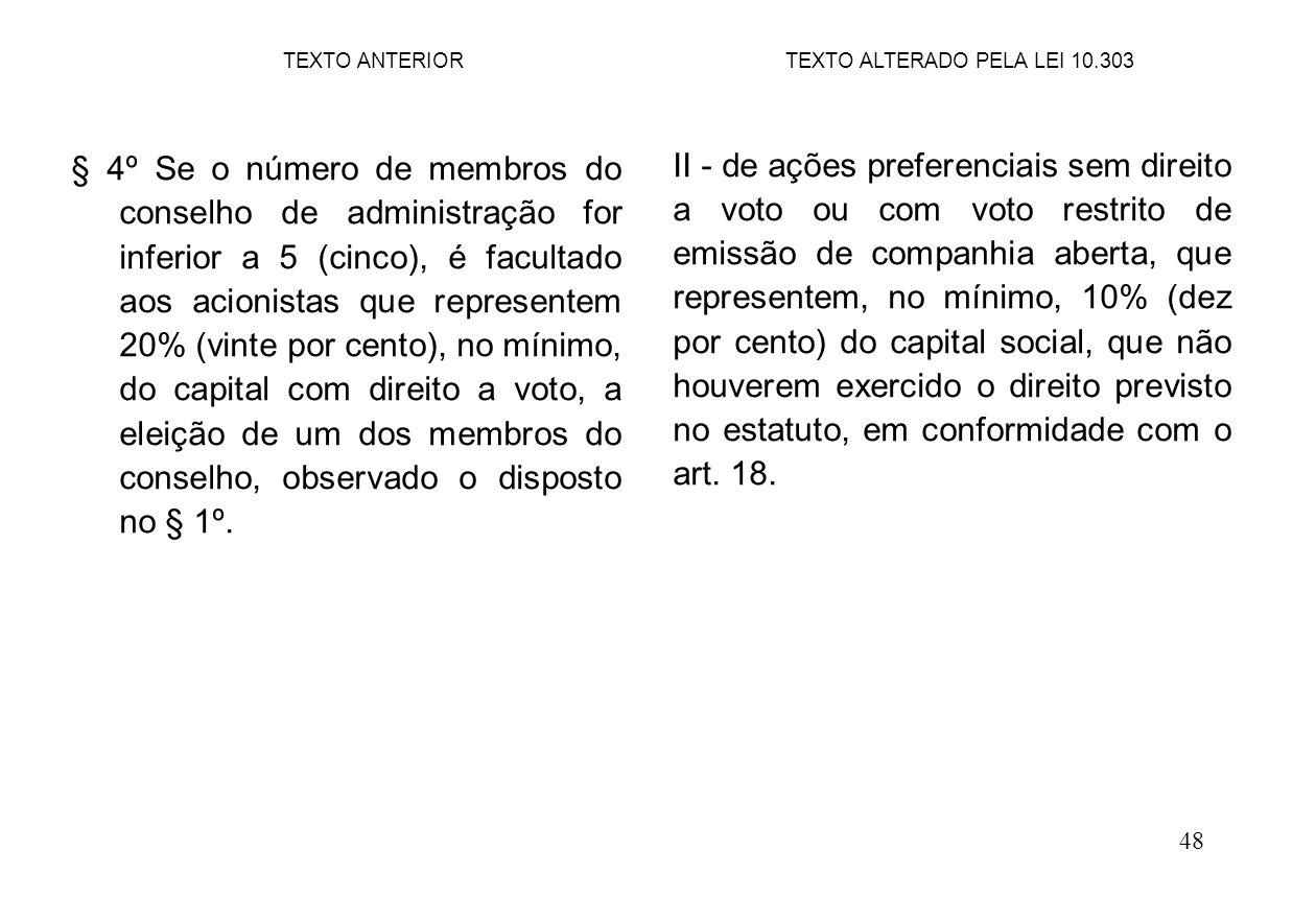 48 § 4º Se o número de membros do conselho de administração for inferior a 5 (cinco), é facultado aos acionistas que representem 20% (vinte por cento), no mínimo, do capital com direito a voto, a eleição de um dos membros do conselho, observado o disposto no § 1º.