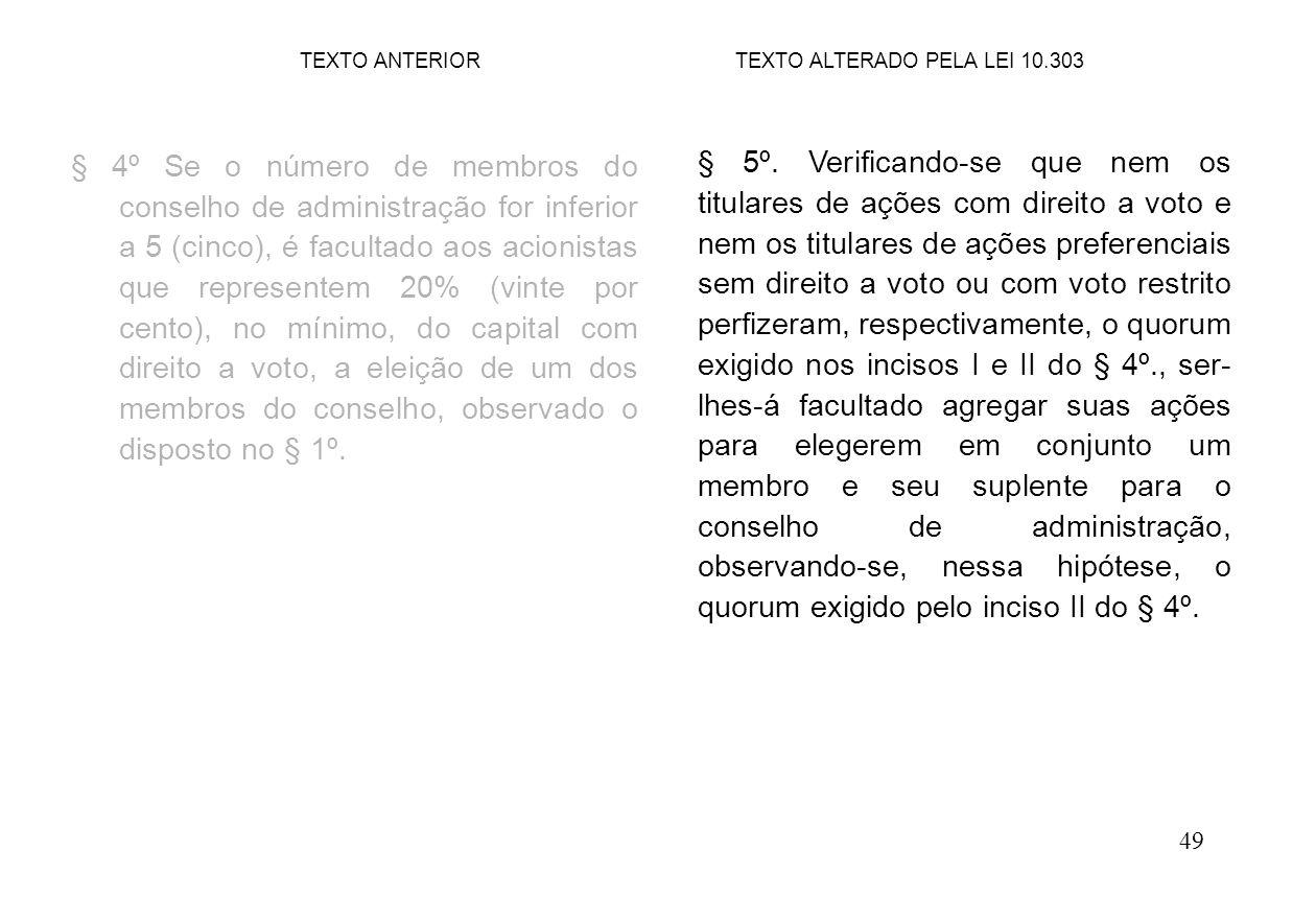 49 § 4º Se o número de membros do conselho de administração for inferior a 5 (cinco), é facultado aos acionistas que representem 20% (vinte por cento), no mínimo, do capital com direito a voto, a eleição de um dos membros do conselho, observado o disposto no § 1º.