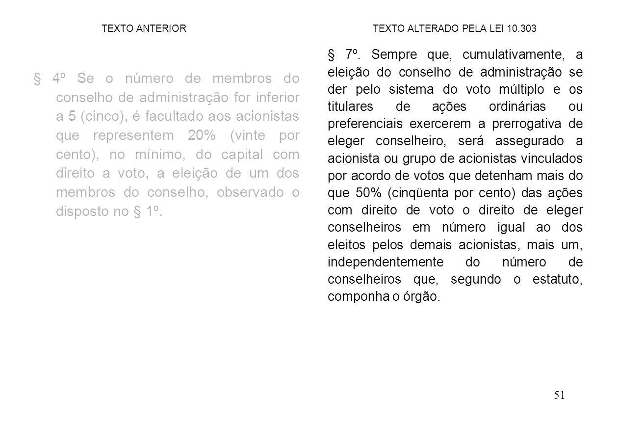 51 § 4º Se o número de membros do conselho de administração for inferior a 5 (cinco), é facultado aos acionistas que representem 20% (vinte por cento), no mínimo, do capital com direito a voto, a eleição de um dos membros do conselho, observado o disposto no § 1º.