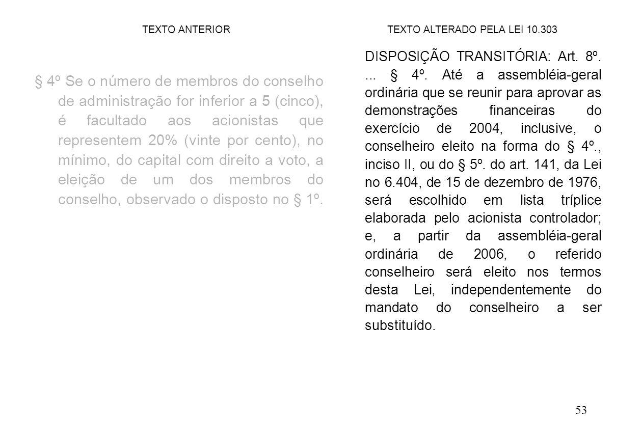 53 § 4º Se o número de membros do conselho de administração for inferior a 5 (cinco), é facultado aos acionistas que representem 20% (vinte por cento)