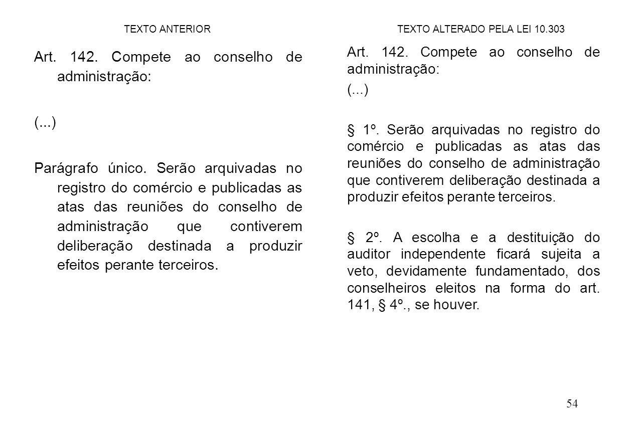 54 Art. 142. Compete ao conselho de administração: (...) Parágrafo único. Serão arquivadas no registro do comércio e publicadas as atas das reuniões d