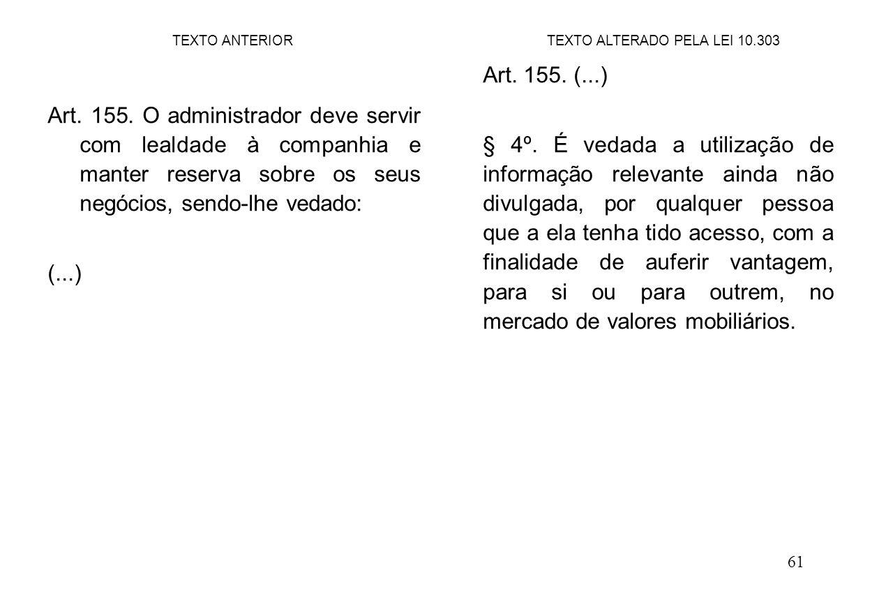 61 Art. 155. O administrador deve servir com lealdade à companhia e manter reserva sobre os seus negócios, sendo-lhe vedado: (...) Art. 155. (...) § 4