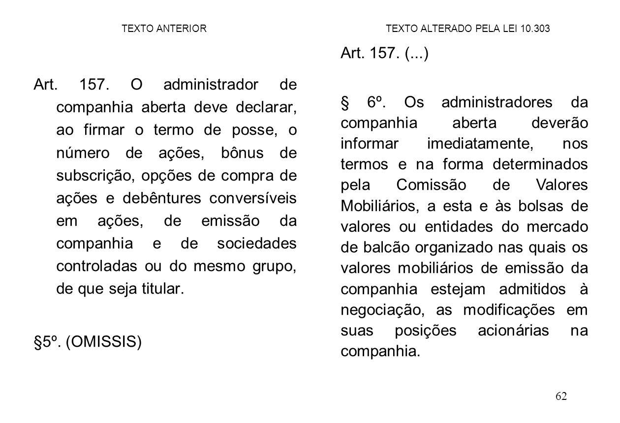 62 Art. 157. O administrador de companhia aberta deve declarar, ao firmar o termo de posse, o número de ações, bônus de subscrição, opções de compra d