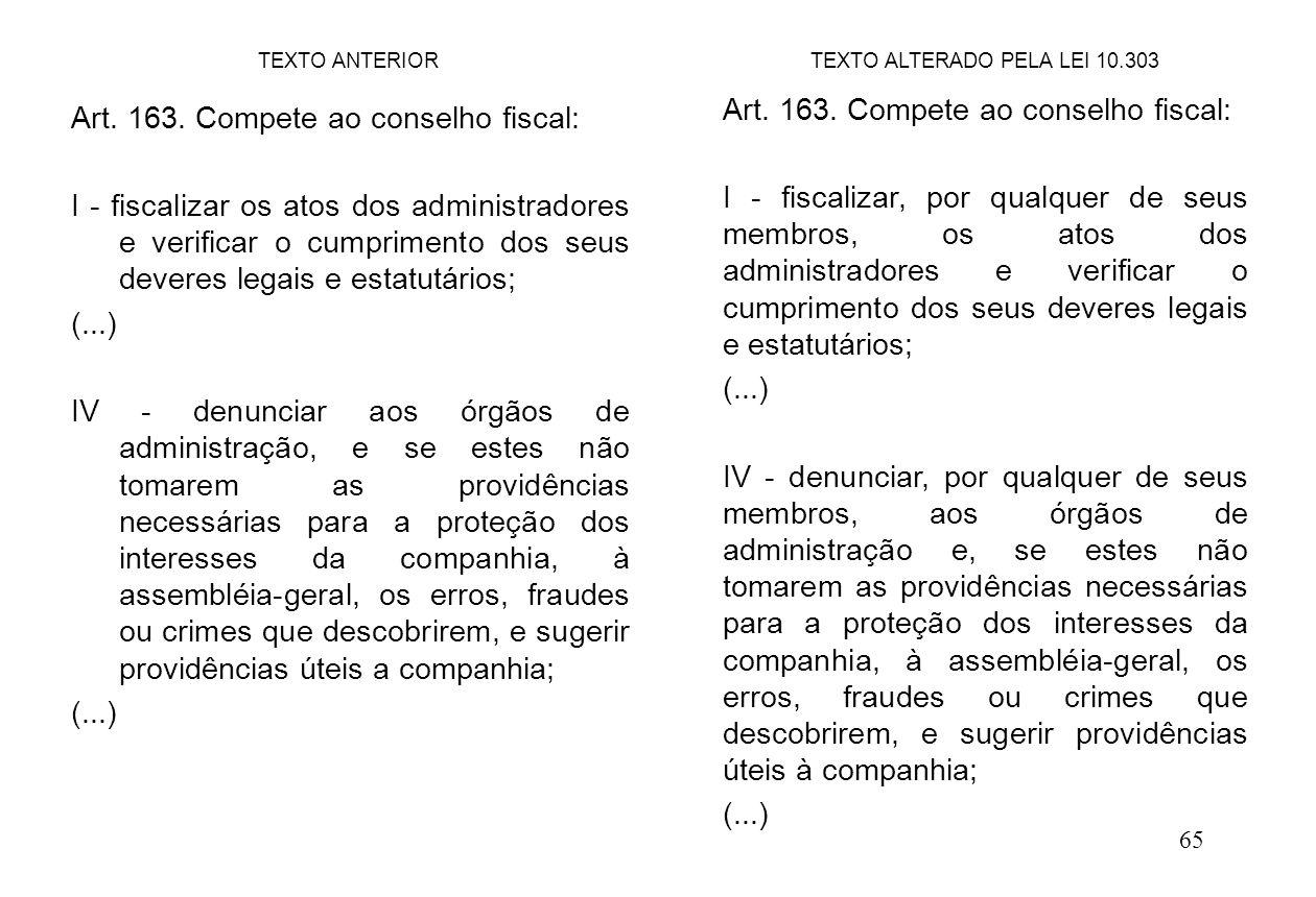 65 Art. 163. Compete ao conselho fiscal: I - fiscalizar os atos dos administradores e verificar o cumprimento dos seus deveres legais e estatutários;