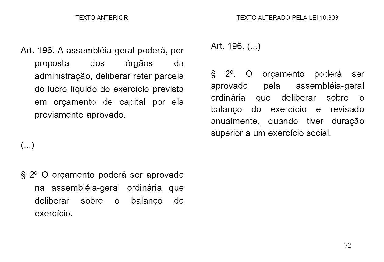 72 Art. 196. A assembléia-geral poderá, por proposta dos órgãos da administração, deliberar reter parcela do lucro líquido do exercício prevista em or