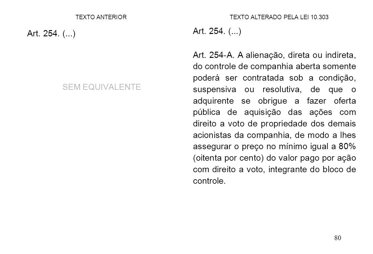 80 Art. 254. (...) SEM EQUIVALENTE Art. 254. (...) Art. 254-A. A alienação, direta ou indireta, do controle de companhia aberta somente poderá ser con