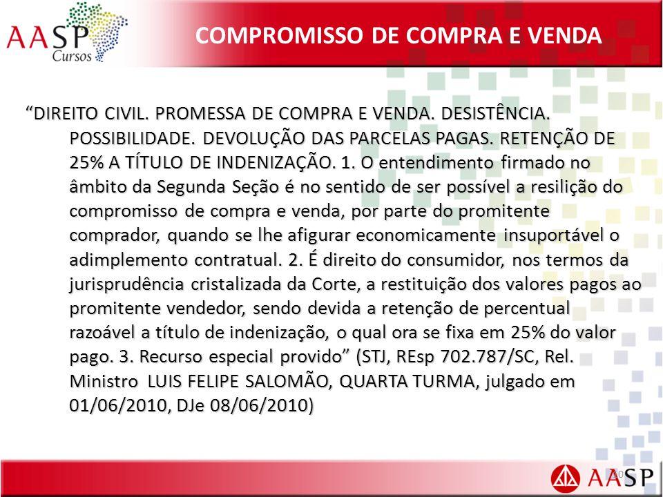 COMPROMISSO DE COMPRA E VENDA DIREITO CIVIL.PROMESSA DE COMPRA E VENDA.