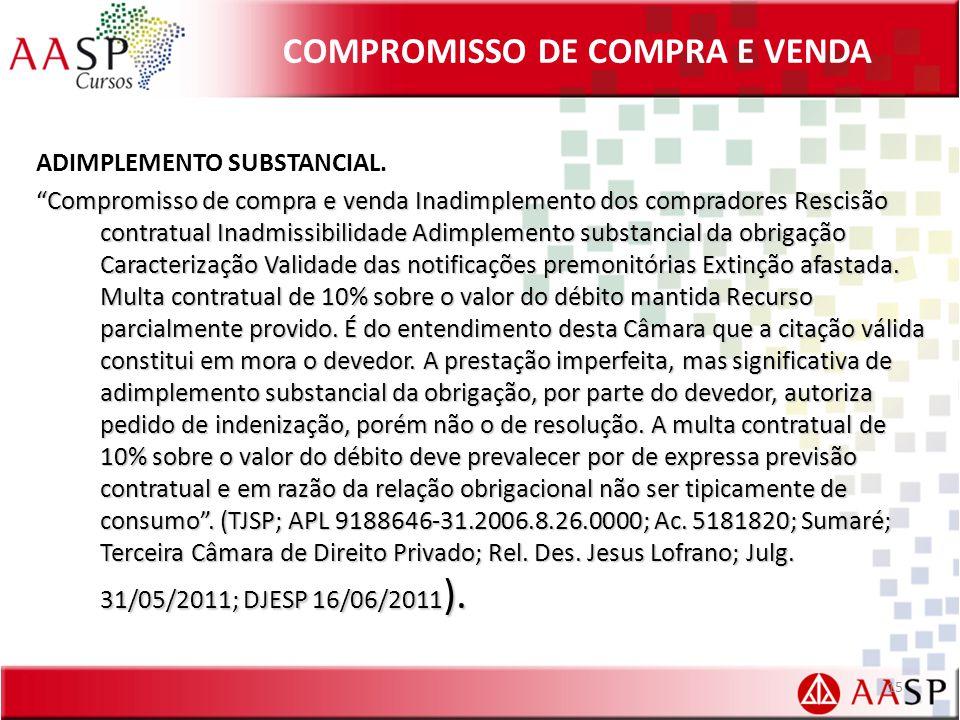 COMPROMISSO DE COMPRA E VENDA ADIMPLEMENTO SUBSTANCIAL.