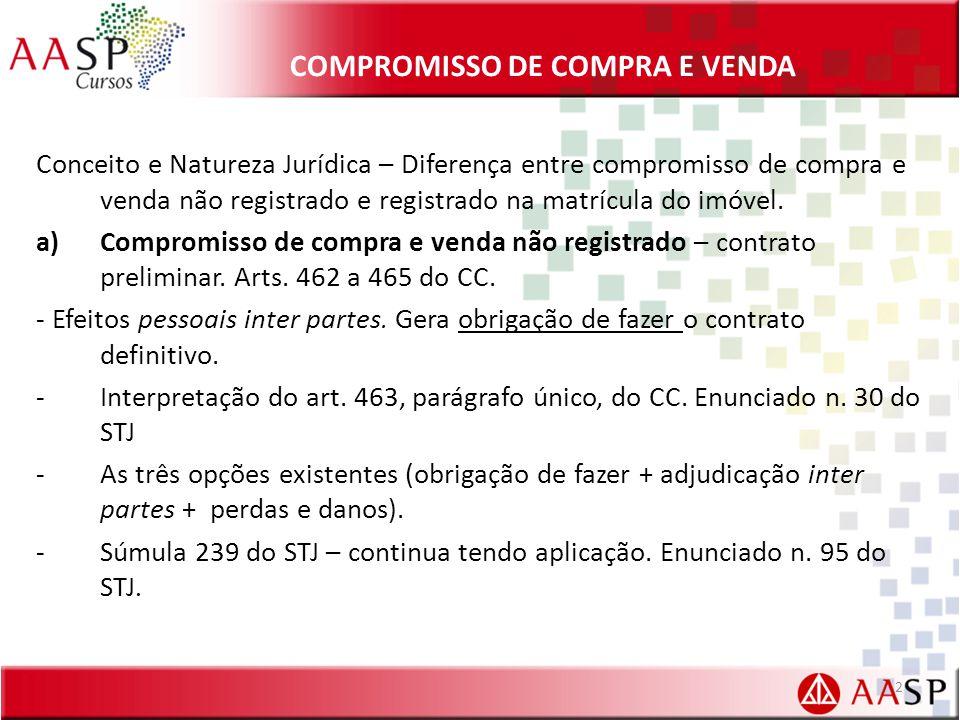 COMPROMISSO DE COMPRA E VENDA Conceito e Natureza Jurídica – Diferença entre compromisso de compra e venda não registrado e registrado na matrícula do imóvel.